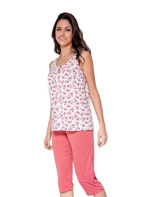 Pijama Regata com Abertura e Calça Corsário