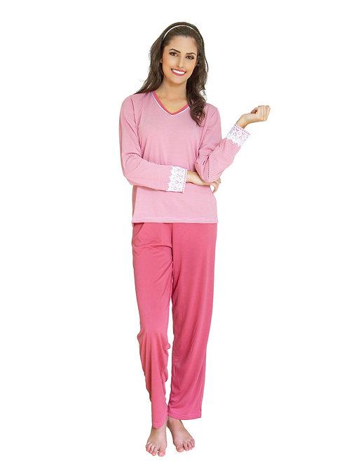 Pijama Longo Feminino em Malha