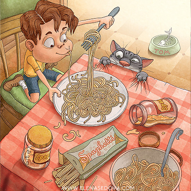 Spaghetti Sam - illustrations by elena s