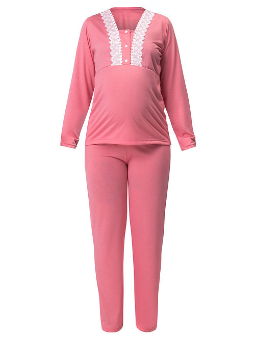 Pijama Longo com Abertura Gestante