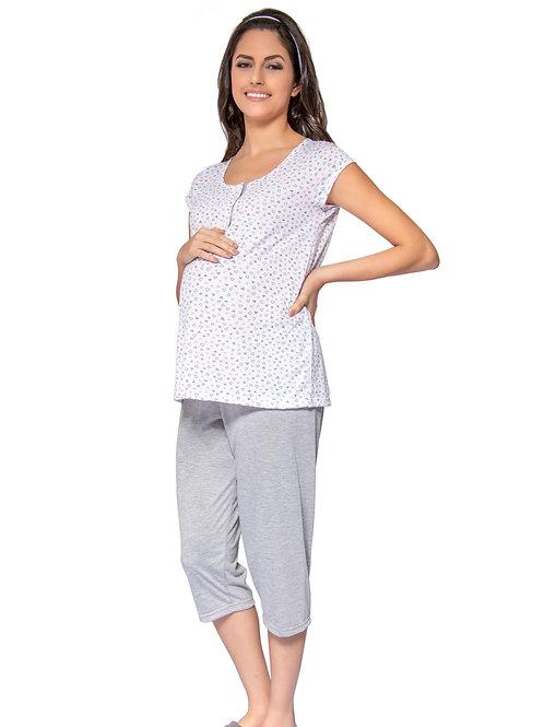 Pijama Manga Curta com Abertura e Calça Corsário