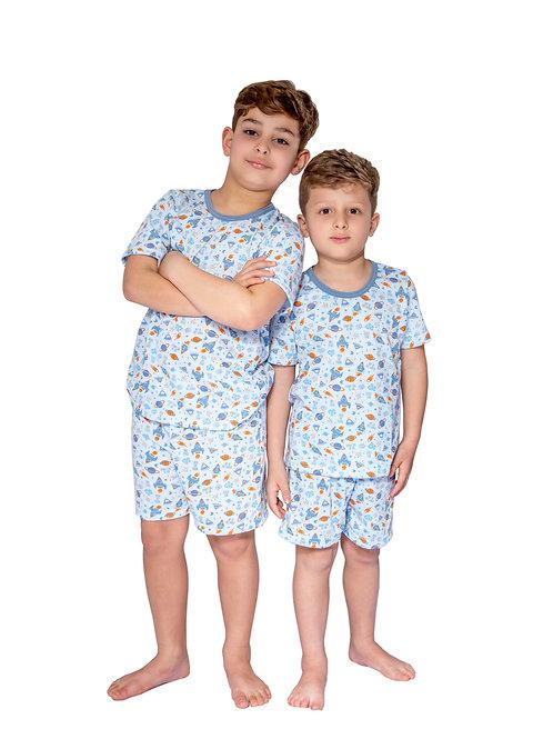 Pijama Infantil Manga Curta em Malha Estampada