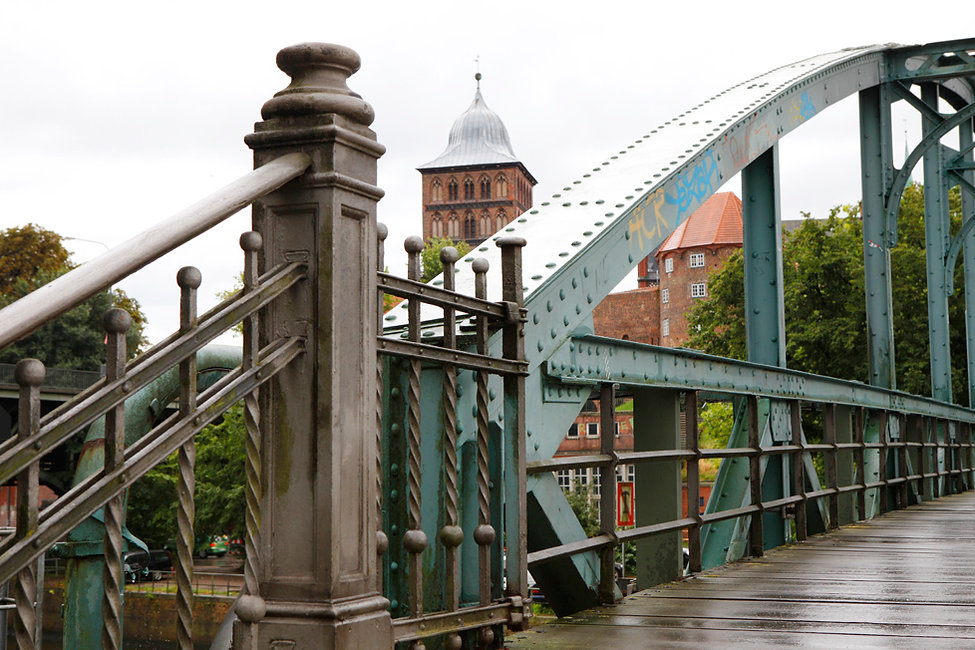 Old bridge Hubbrucke in Lubeck