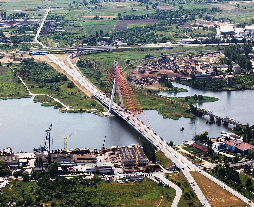 Most im. Jana Pawła II w GdańskunaMartwej Wiśle 2001