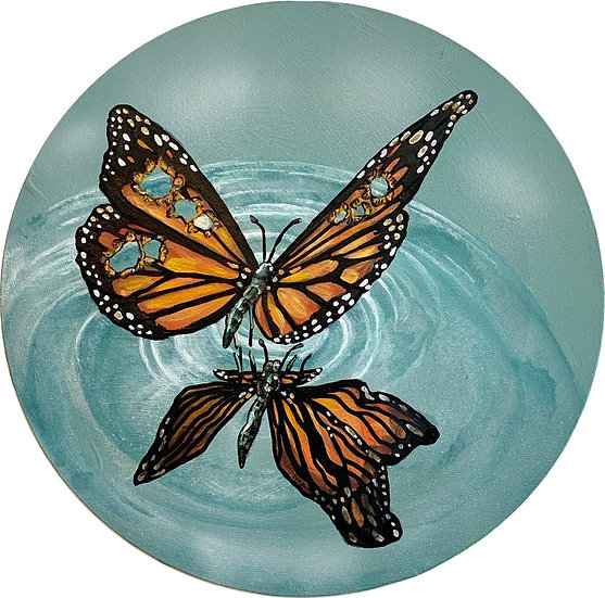 Reflection - Butterfly with bullet holes in her wings 30cm