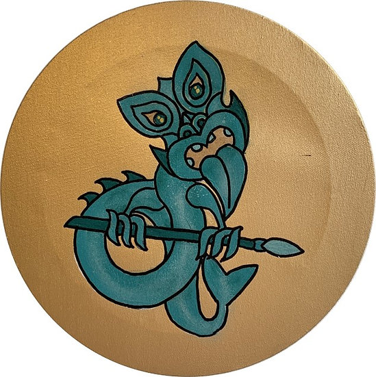 Teal Taniwha on gold 30cm