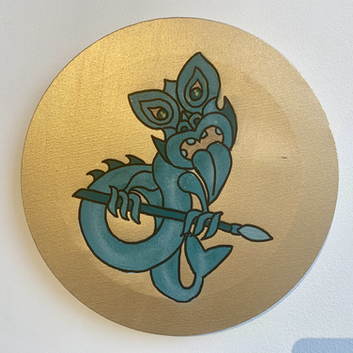 Teal Taniwha Ureia on Gold 30cm 1