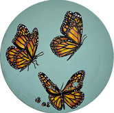 SOLD - Threes a crowd - Butterfly with bullet holes in her wings