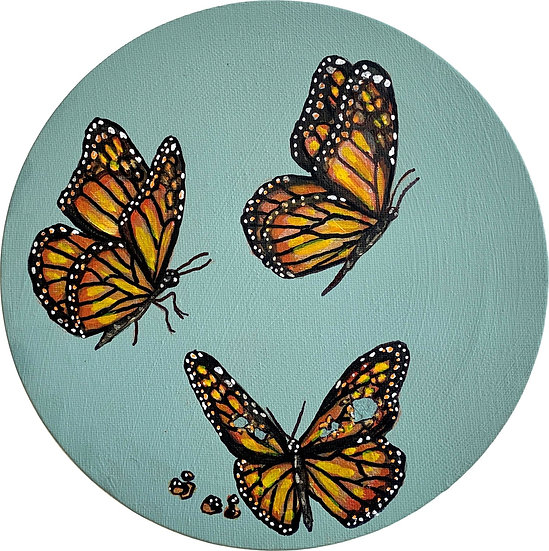 Three's a crowd - Butterfly with bullet holes in her wings 20cm