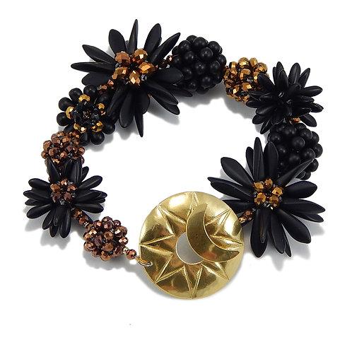 Black and Gold Flower Bracelet in Circle