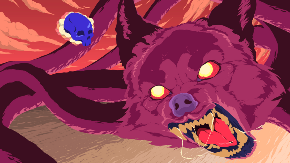 Red Wolf and Blue Skull