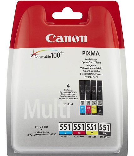 Multi pack of four Canon CLi-551 Ink Cartridges (6509B009)