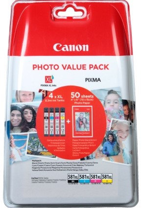 Colour Multipack of High Capacity Canon CLi-581XL Inks + 50 Sheets of 6x4 Paper