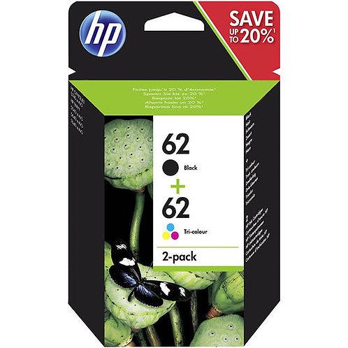 HP 62 Ink Cartridges, Black & Colour, Pack of 2 (N9J71AE)
