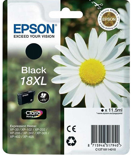 High Capacity Epson 18 XL Black Ink Cartridge (C13T18114010)