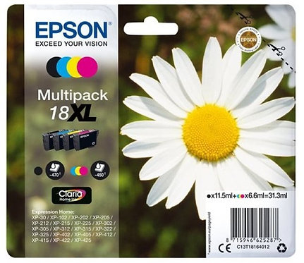 Multipack of High Capacity Epson 18 XL Ink Cartridges (C13T18164010)