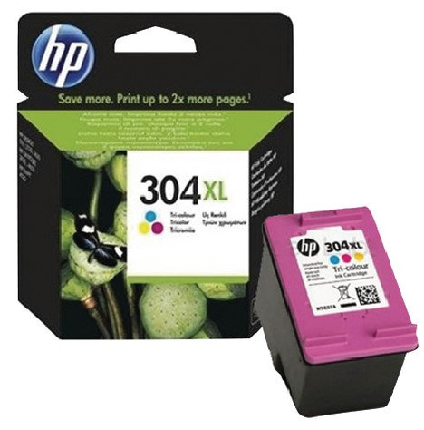 High Capacity HP 304XL Tri-Colour Ink Cartridge (N9K07AE)