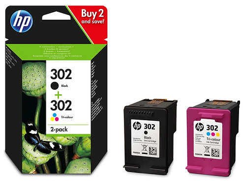 Twinpack of HP 302 Ink Cartridges (X4D37AE)