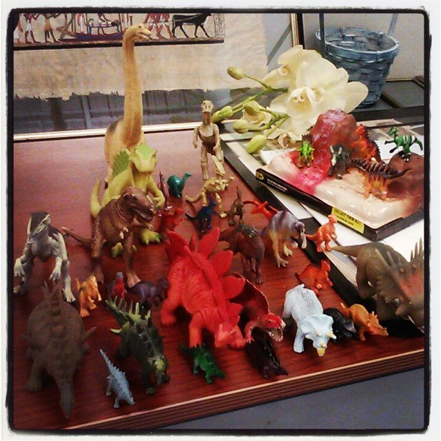 Instagram - My ever expanding plastic Dino collection at the office. Given by fa