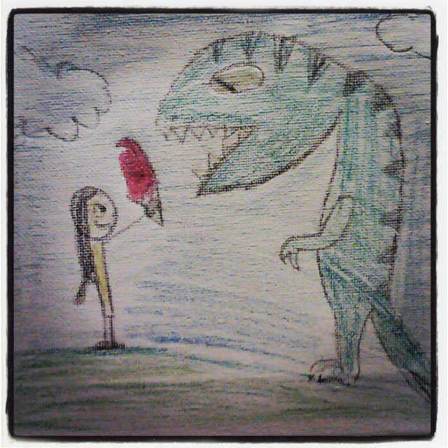 Instagram - My sweet daughter made this for me thank you baybee:) #Godmadedinosa