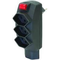 STEKO Abzweigstecker mit Schalter 3xT13 + 1xT13, schwarz