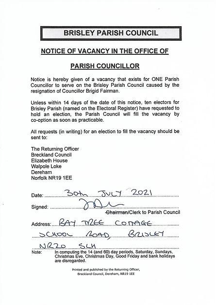 Notice of Vacancy - Brisley - July 2021.jpg
