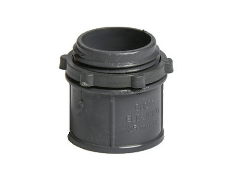 """Conector PVC 1"""" con tuerca para tubo gris"""