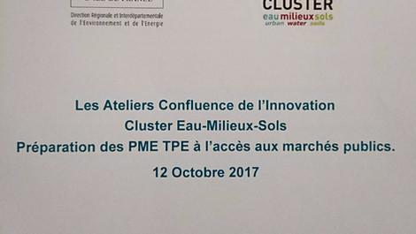 Participation aux Ateliers Confluence de l'Innovation, avec le Cluster Eau Milieux Sols.