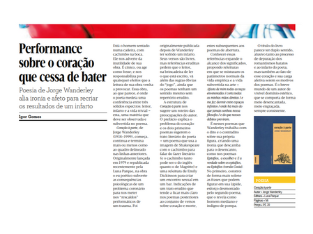 """""""Performance sobre o coração que cessa de bater"""", por Igor Gomes, resenha no Suplemento Pe"""