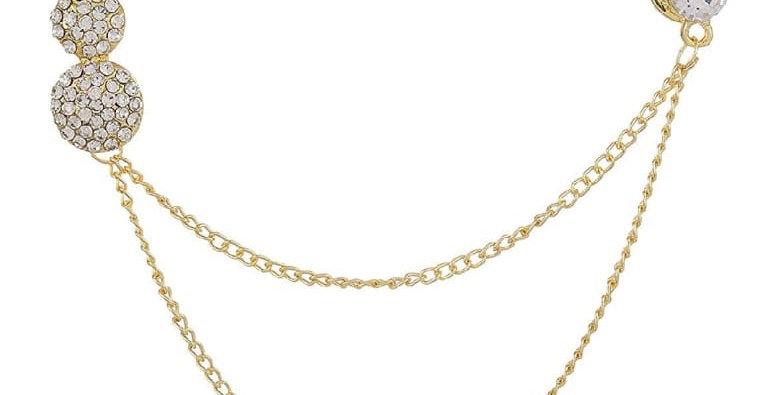 Gold Rhinestone Chain Brooch