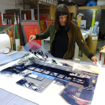 Bonnie and clyde checking the artwork for the print