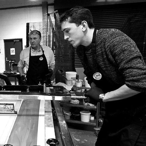 Quentin and Caspar Silkscreen Printing
