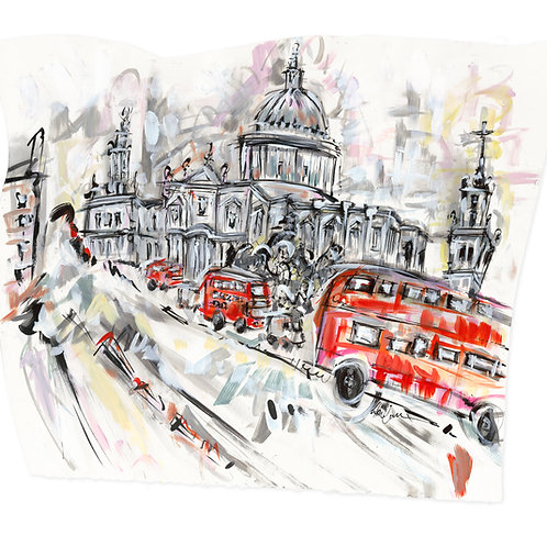 St Paul's Cathedral and the London Bus by Lucinda Burman