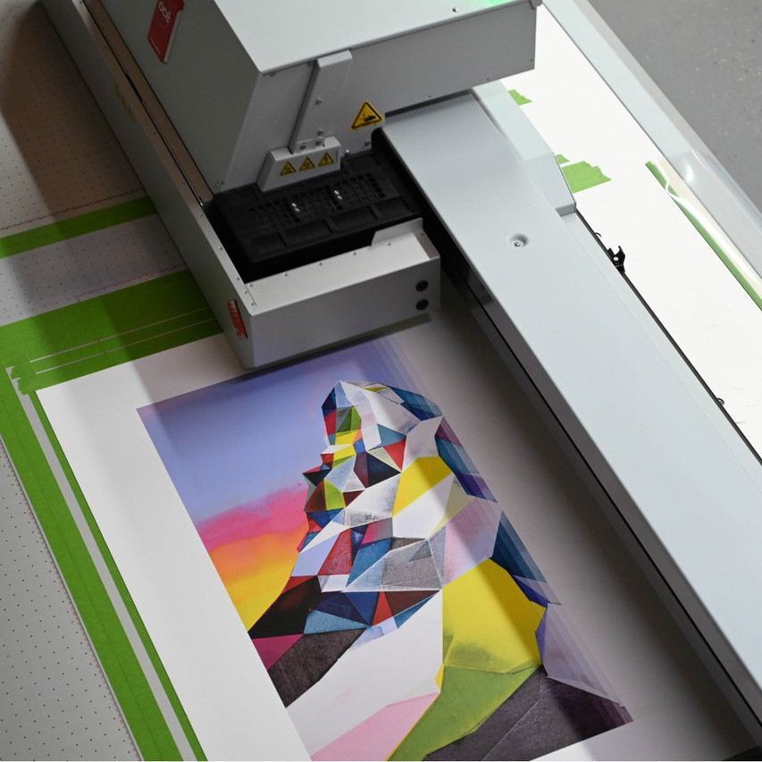 Printing a limited edition of Nelly Duff and artist Torben Giehler using our flatbed printer