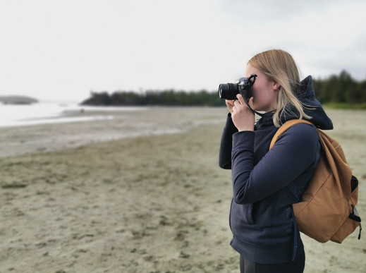 Photographer Girl Beach Tofino BC