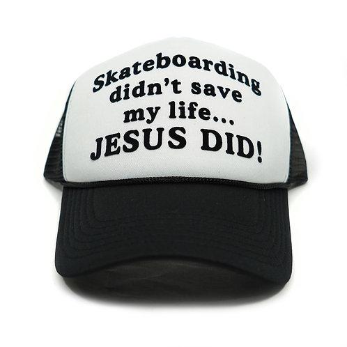 Jesus Saved My Life Trucker - Wht/Blk