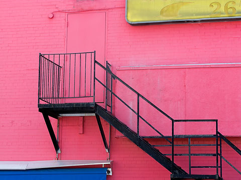 Pink Wall with Staircase.JPG