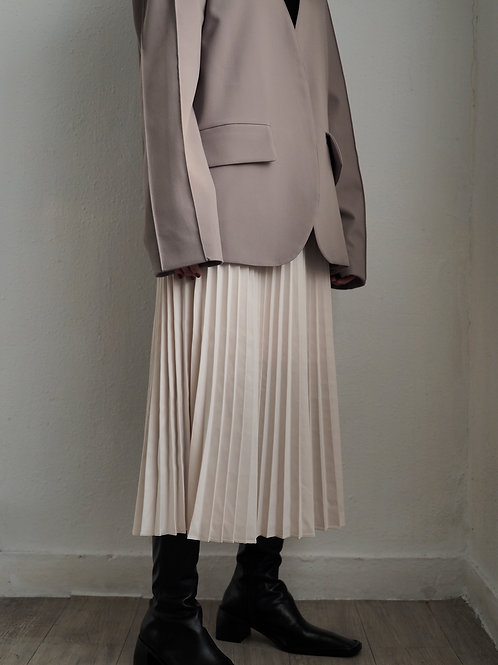 柔軟絲綢質感百摺長裙(白/黑)