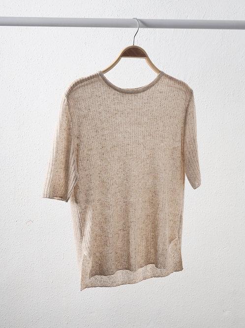 燕麥色直紋針織上衣
