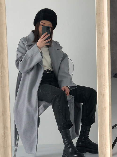 灰色羊毛大衣(60 % wool)