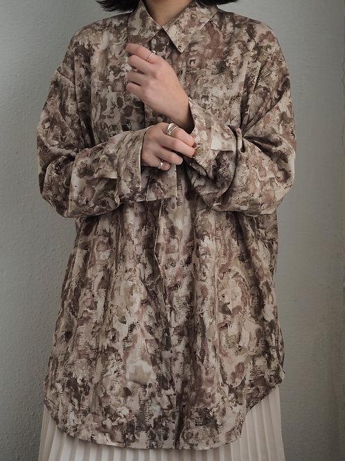 復古風裇衫(灰藍/棕色)