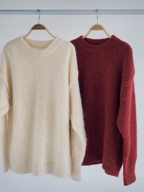 溫柔親膚感毛衣(35%wool+35%mohair)(紅/白)