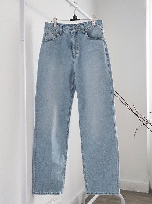 直腳淺藍牛仔褲
