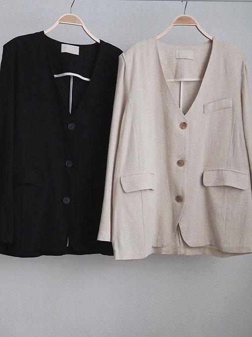 麻質V領外套