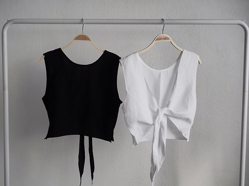 黑白綁帶背心