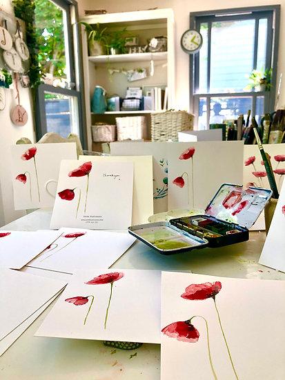 A set of 10 Poppy postcards