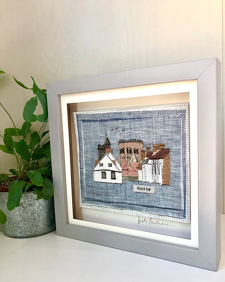 Framed textile print of St Albans 'French Row'