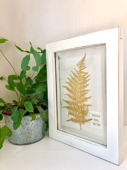 Pressed flower picture -Fern ' Beautiful things take time '