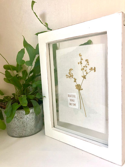 Pressed flower picture-Lady's mantle 'beautiful things take time'