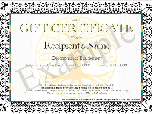Two Surname Gift Certificate